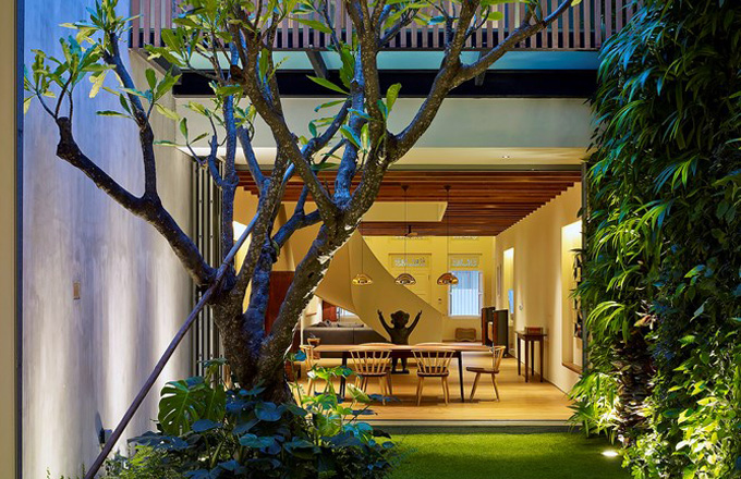 Singapurská řadovka s vnitřní zahradou