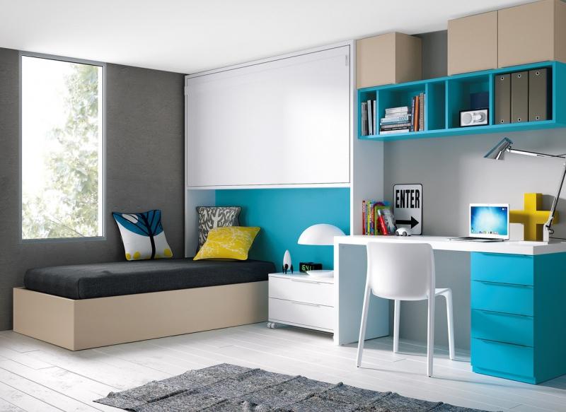 Modern byt triky v mal m byt praktick rozkl d n - Decoracion de interiores en color azul turquesa ...