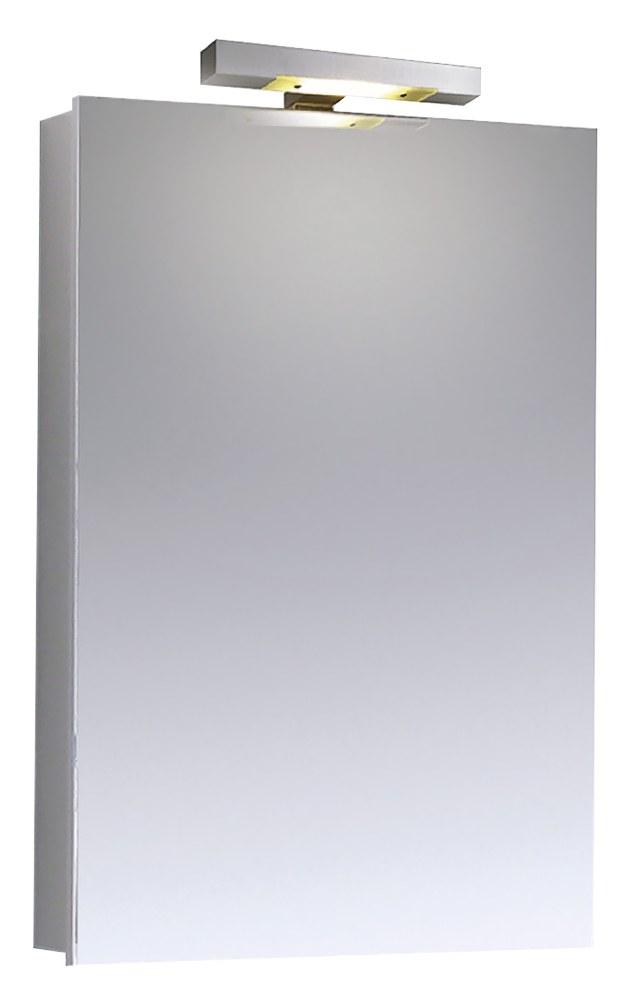 Jednodveřová zrcadlová skříňka Mee (Emco), 60 x 74,6 cm, LED osvětlení, hliník, cena 12 886 Kč, WWW.KOUPELNY-PTACEK.CZ